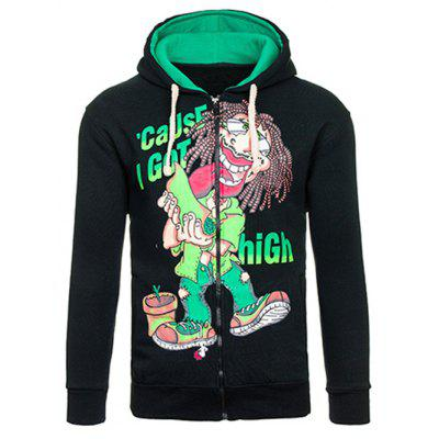 Cartoon Figure Print Drawstring Flocking Green Graphic Hoodie