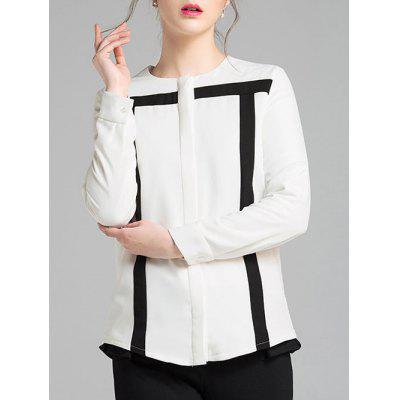 Long Sleeves Color Block Chiffon Blouse