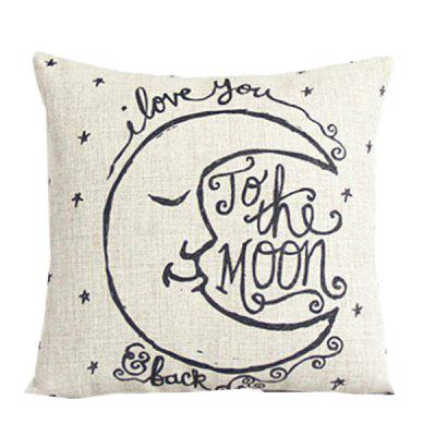 Moon Letter Pattern Sofa Cushion Linen Pillow Case
