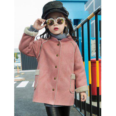 Shearling TrimStand Collar Faux Suede Coat
