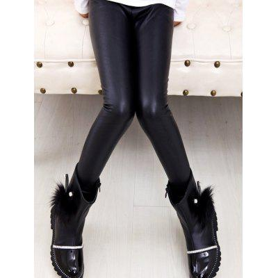 Cotton Liner Faux Leather Leggings Pants