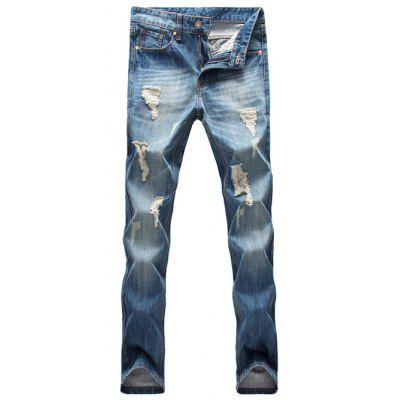 Zip Fly Distressed Light Denim Jeans