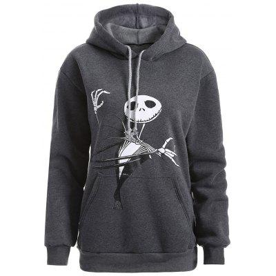 Buy DEEP GRAY Plus Size Halloween Ghost Print Graphic Hoodie for $21.45 in GearBest store