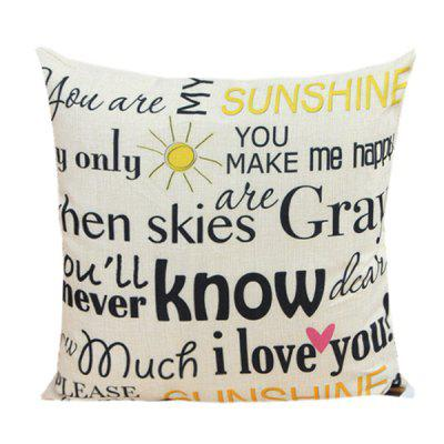 Letter Proverb Pattern Sofa Cushion Linen Pillow Case