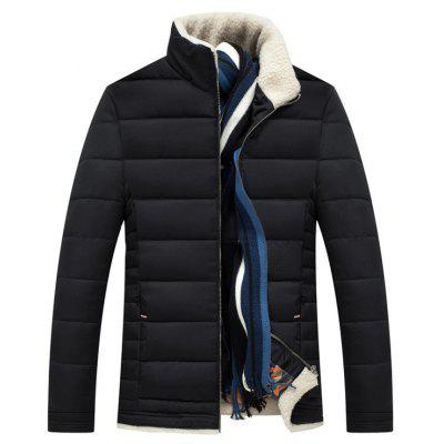 Slim Fit Wool Stand Collar Quilted Jacket 726 Free Shipping