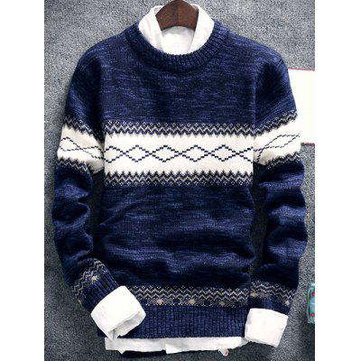 Geometric Pattern Space Dye Crew Neck Sweater