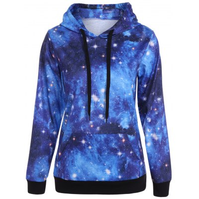 Buy DEEP BLUE Pullover Galaxy Print Drawstring Hoodie for $14.73 in GearBest store