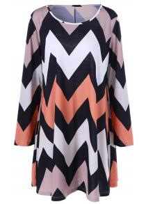 Plus Size Zigzag Loose Casual Shift Dress