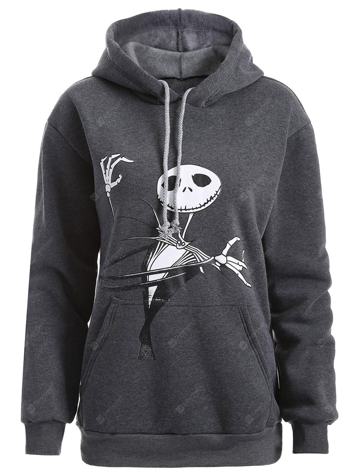 DEEP GRAY 2XL Plus Size Halloween Ghost Print Graphic Hoodie