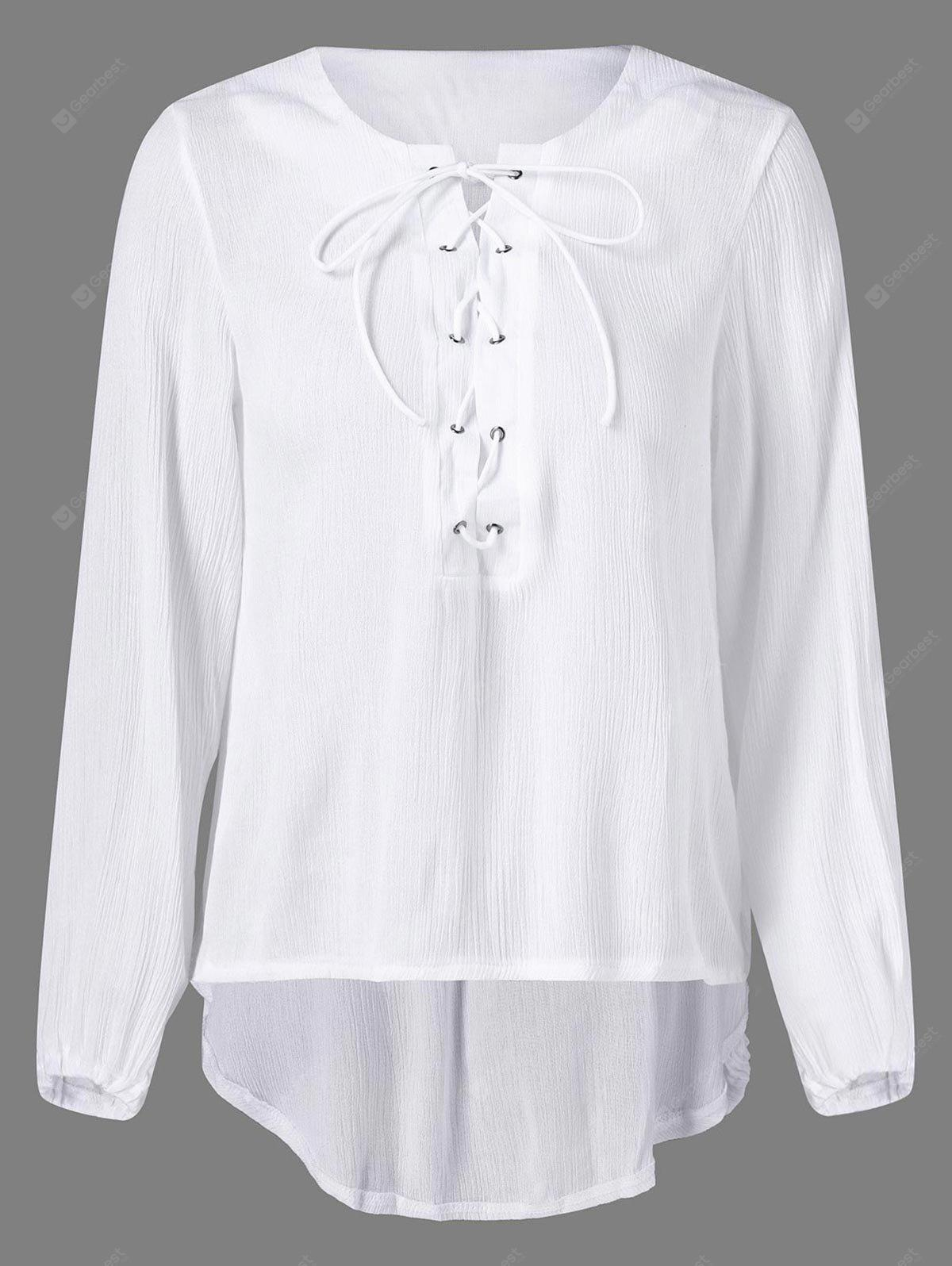 High Low Lace Up Blouse