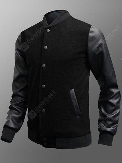 Pulsante laterale Pocket Snap up PU Inserire Jacket