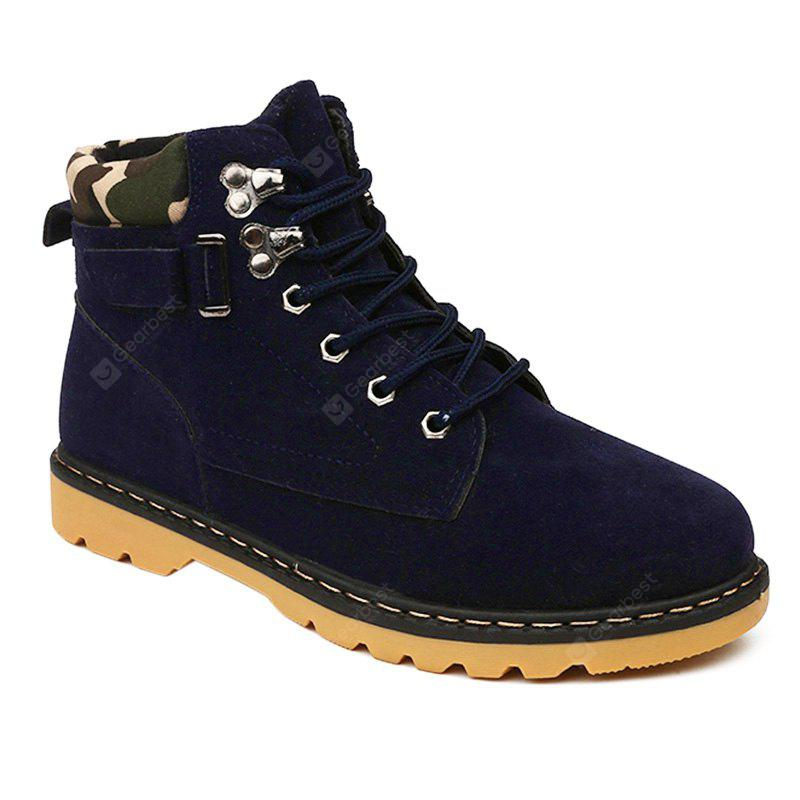 Metal Eyelet Lace Up Suede Short Boots
