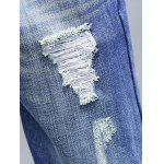 Zip Fly Distressed Light Denim Jeans for sale