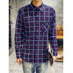 cheap Turndown Collar Checked Print Flocking Shirt
