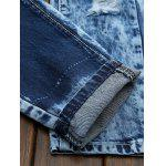 Plus Size Bleach Wash Patch and Holes Straight Leg Jeans - BLUE