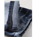 Zipper Fly Bleach Wash Patch and Holes Design Jeans photo