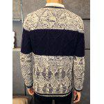 cheap Rhombus Pattern Contrast Color Crew Neck Sweater