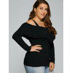 Plus Size Dew Shoulder Overlay Blouse - BLACK