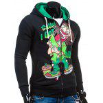 Cartoon Figure Print Drawstring Flocking Green Graphic Hoodie - BLACK AND GREEN
