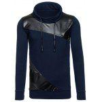 PU Leather Spliced Design Color Block Pullover Sweatshirt - CADETBLUE