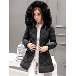 Long Hooded Puffer Coat With Fur Trim - BLACK