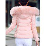 Faux Fur Hooded Padded Jacket - LIGHT PINK