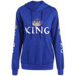 Buy BLUE Pullover King Print Drawstring Hoodie for $15.82 in GearBest store