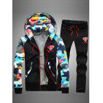 Camouflage Splicing Zip Up Flocking Hoodie and Pants Twinset - BLACK