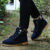 Metal Eyelet Lace Up Suede Short Boots - BLUE