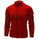 Collare del basamento Twist Zip Up Cardigan - ROSSO