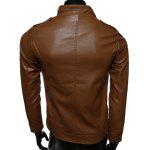 cheap Rib Splicing Stand Collar Zip-Up PU-Leather Jacket
