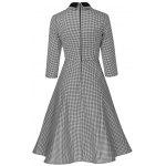 Plus Size Vintage Houndstooth Print Pin Up Dress - BLACK