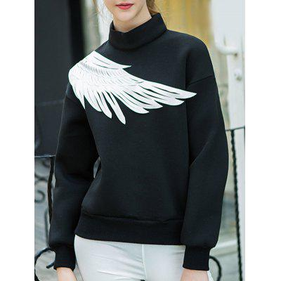 Two Tone Pullover Wing Printed Sweatshirt