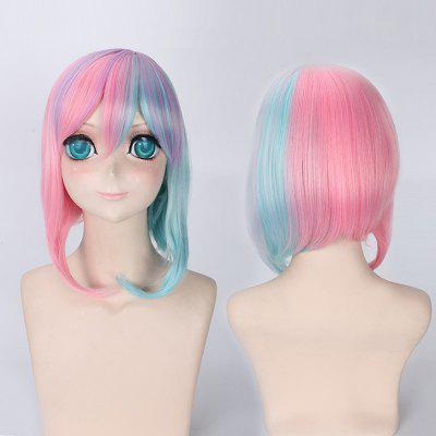 Rainbow Short Side Bang Straight Cosplay Lolita Synthetic Wig