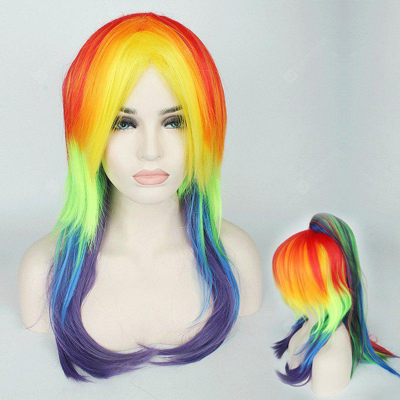 Rainbow Long Tail Adduction with Ponytail My Little Pony Cosplay Synthetic Wig