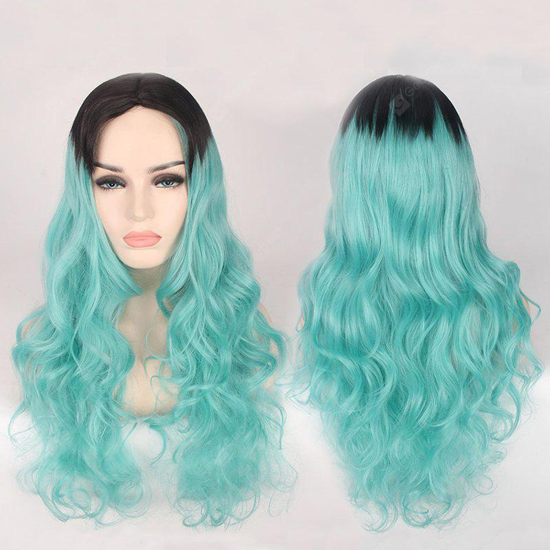 Double Color Long Centre Parting Wavy Cosplay Synthetic Wig