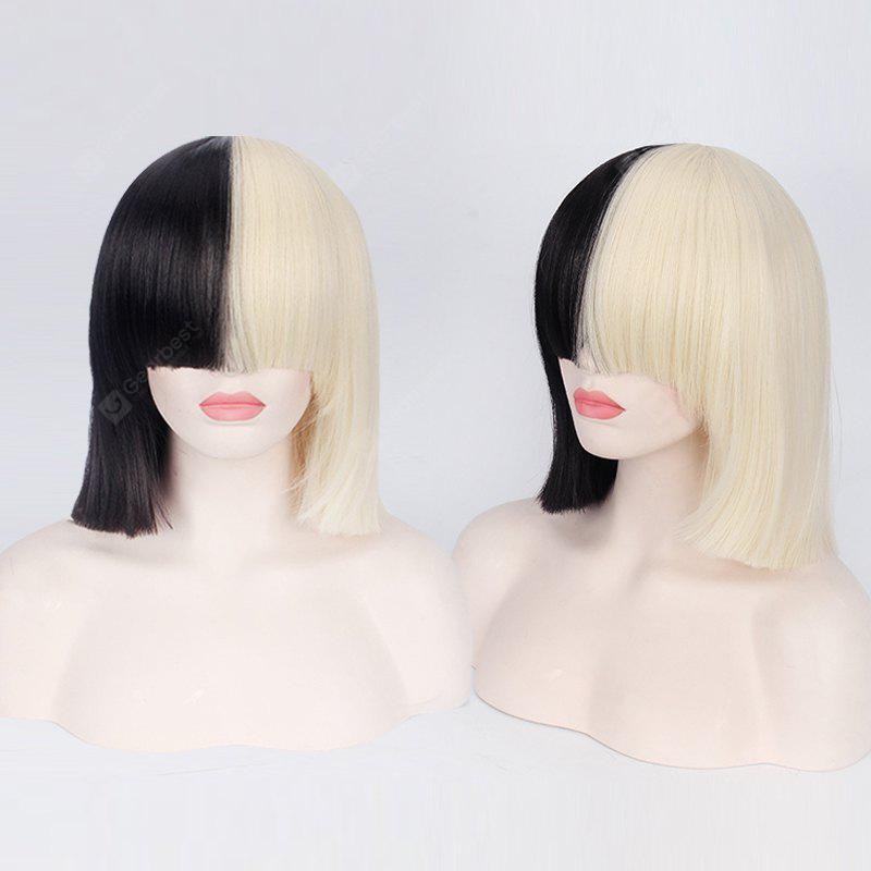 Double Color Short Full Bang Straight Sia Cosplay Synthetic Wig