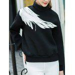 cheap Two Tone Pullover Wing Printed Sweatshirt