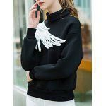 Two Tone Pullover Wing Printed Sweatshirt deal