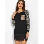 cheap Raglan Sleeve Leopard Print Pocket Design Sweatshirt