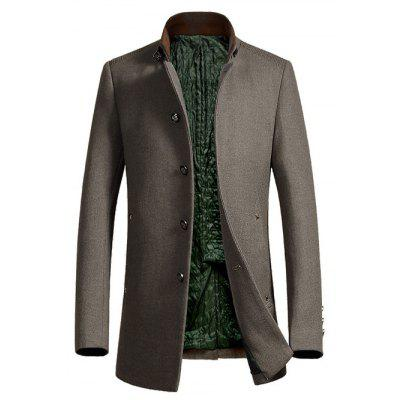 Metal Button Embellished Stand Collar Woolen Coat