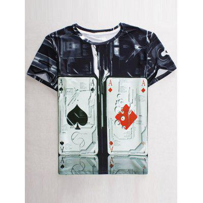 Funny 3D Playing Card Print Round Neck Short Sleeves T-Shirt For Men
