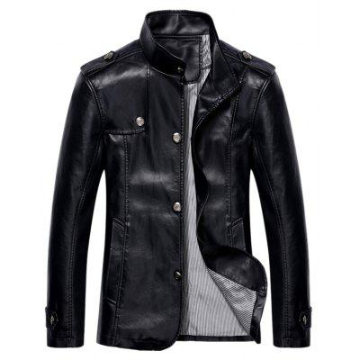 Button Up Stand Collar Epaulet PU Leather Jacket
