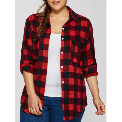 Plus Size Flannel Plaid Cotton Shirt with Pocket