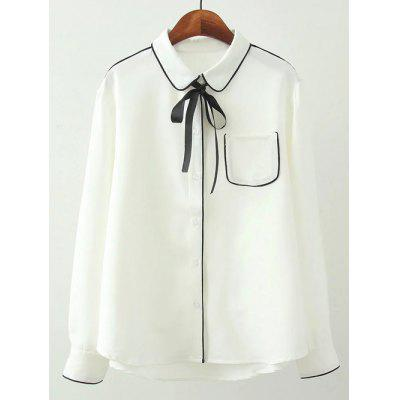 Plus Size Piped Tie Neck Pocket Shirt