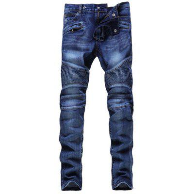 Buy DENIM BLUE Skinny Zipper Embellished Biker Jeans for $35.91 in GearBest store