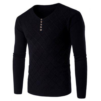 Buy BLACK L V Neck Buttons Argyle Kink Design Knitting Sweater for $18.06 in GearBest store