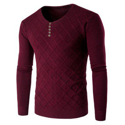 Buy WINE RED M V Neck Buttons Argyle Kink Design Knitting Sweater for $19.20 in GearBest store