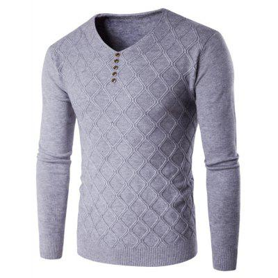 Buy LIGHT GRAY 2XL V Neck Buttons Argyle Kink Design Knitting Sweater for $18.06 in GearBest store