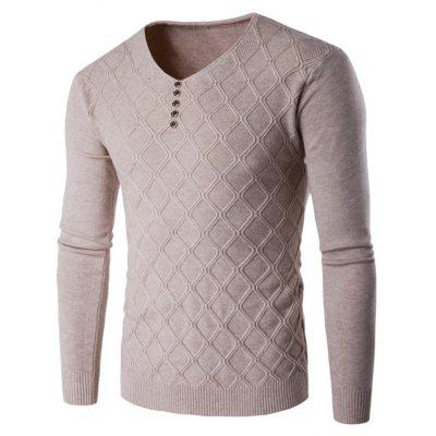 Buy BEIGE 2XL V Neck Buttons Argyle Kink Design Knitting Sweater for $18.06 in GearBest store